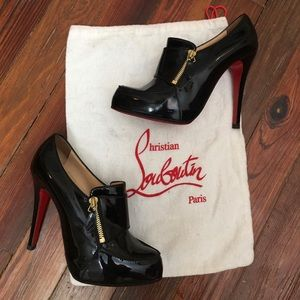 Louboutin patent leather zipper ankle booties 37.5